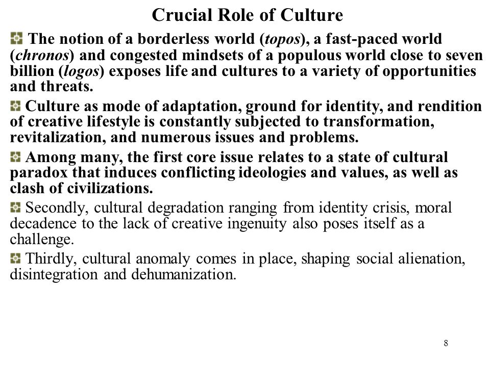 7 Crucial Role of Culture As a connector between different countries, regions, peoples, cultures and religions; A source of enjoyment and enrichment of human life providing historic perspective, identity and appreciation of diversity; A bridge towards stimulating mutual understanding, tolerance and interest; A bridge to stimulate inter-cultural and inter-religious dialogue; Etc.