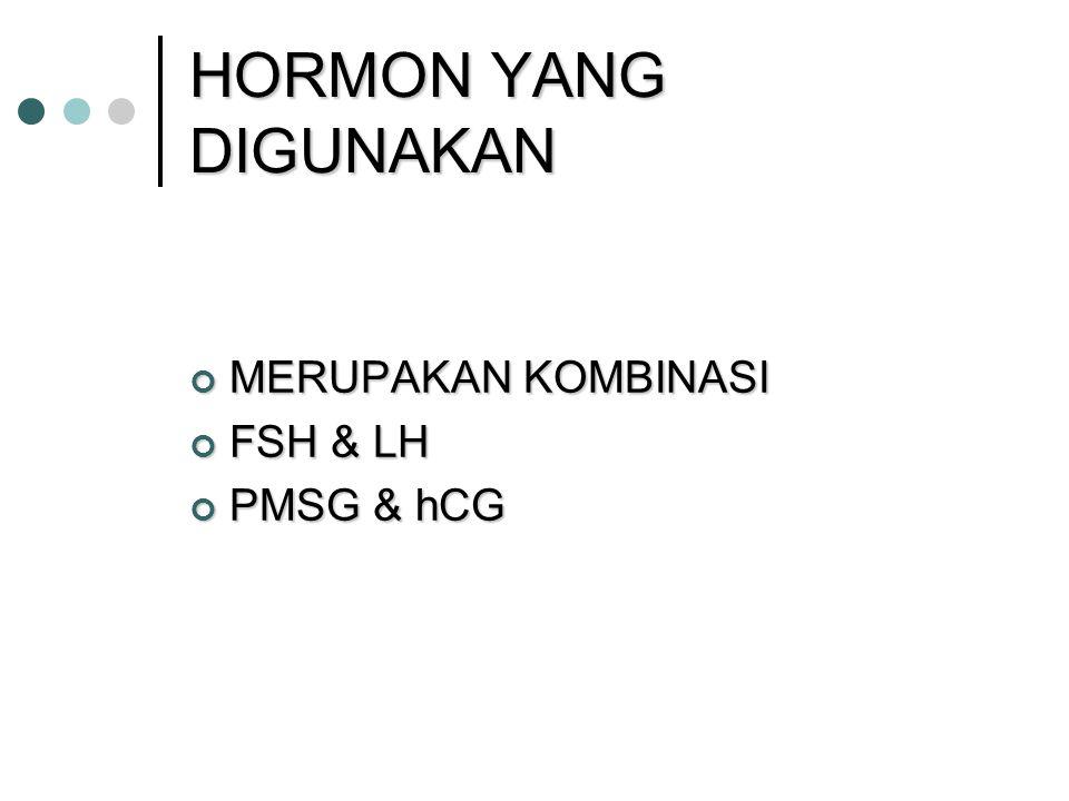 HORMON YANG DIGUNAKAN MERUPAKAN KOMBINASI FSH & LH PMSG & hCG