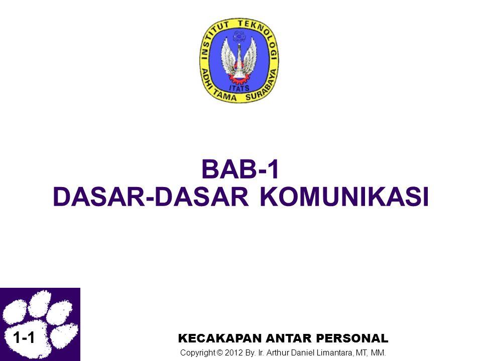 1-1 KECAKAPAN ANTAR PERSONAL Copyright © 2012 By. Ir. Arthur Daniel Limantara, MT, MM. BAB-1 DASAR-DASAR KOMUNIKASI