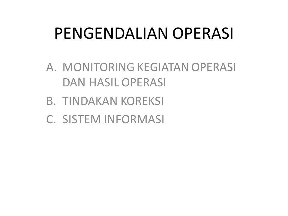 PENGENDALIAN OPERASI A.MONITORING KEGIATAN OPERASI DAN HASIL OPERASI B.TINDAKAN KOREKSI C.SISTEM INFORMASI