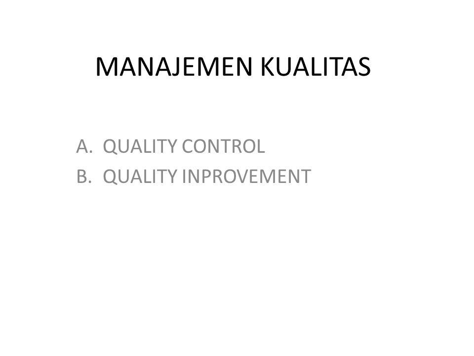 MANAJEMEN KUALITAS A.QUALITY CONTROL B.QUALITY INPROVEMENT