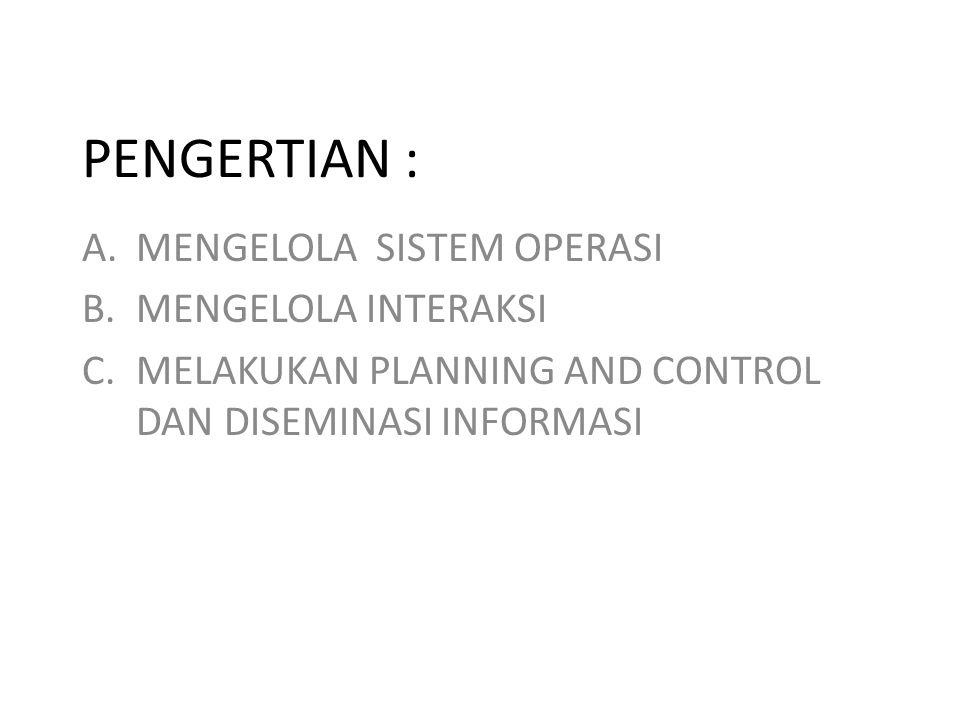 PENGERTIAN : A.MENGELOLA SISTEM OPERASI B.MENGELOLA INTERAKSI C.MELAKUKAN PLANNING AND CONTROL DAN DISEMINASI INFORMASI