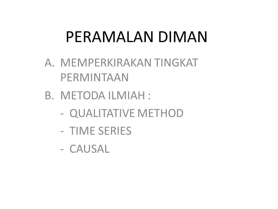 PERAMALAN DIMAN A.MEMPERKIRAKAN TINGKAT PERMINTAAN B.METODA ILMIAH : - QUALITATIVE METHOD - TIME SERIES - CAUSAL