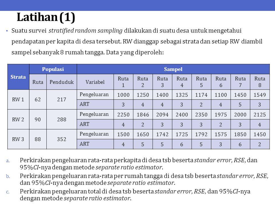 Latihan (1) Suatu survei stratified random sampling dilakukan di suatu desa untuk mengetahui pendapatan per kapita di desa tersebut. RW dianggap sebag