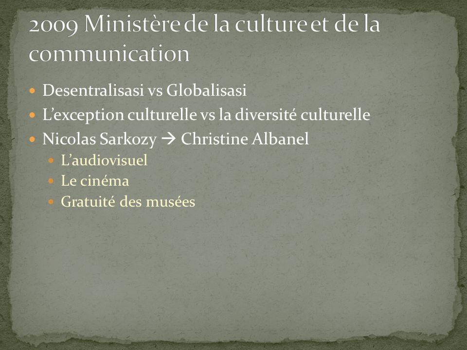 Desentralisasi vs Globalisasi L'exception culturelle vs la diversité culturelle Nicolas Sarkozy  Christine Albanel L'audiovisuel Le cinéma Gratuité des musées