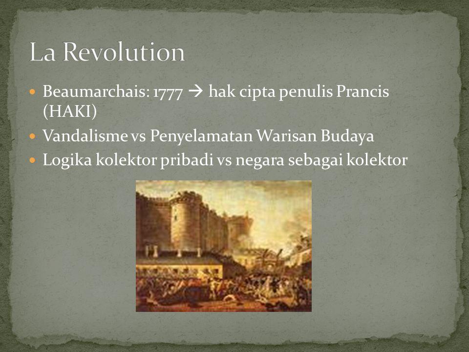 Beaumarchais: 1777  hak cipta penulis Prancis (HAKI) Vandalisme vs Penyelamatan Warisan Budaya Logika kolektor pribadi vs negara sebagai kolektor