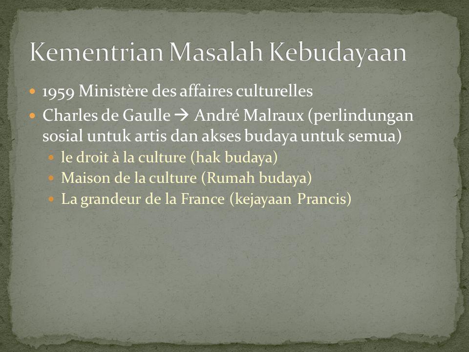 1959 Ministère des affaires culturelles Charles de Gaulle  André Malraux (perlindungan sosial untuk artis dan akses budaya untuk semua) le droit à la culture (hak budaya) Maison de la culture (Rumah budaya) La grandeur de la France (kejayaan Prancis)