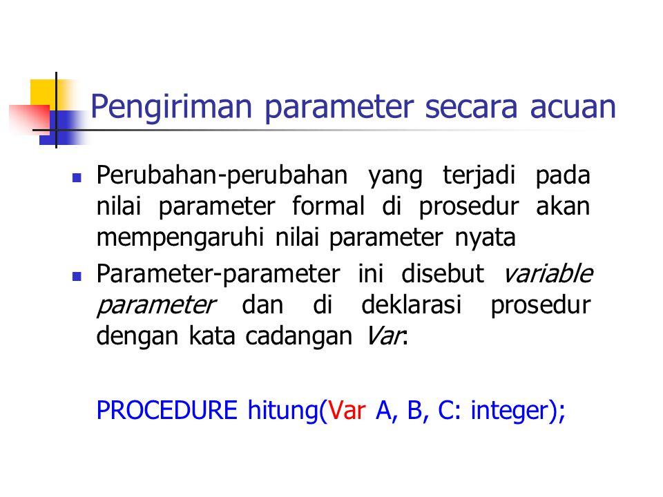 Pengiriman parameter secara acuan Perubahan-perubahan yang terjadi pada nilai parameter formal di prosedur akan mempengaruhi nilai parameter nyata Par