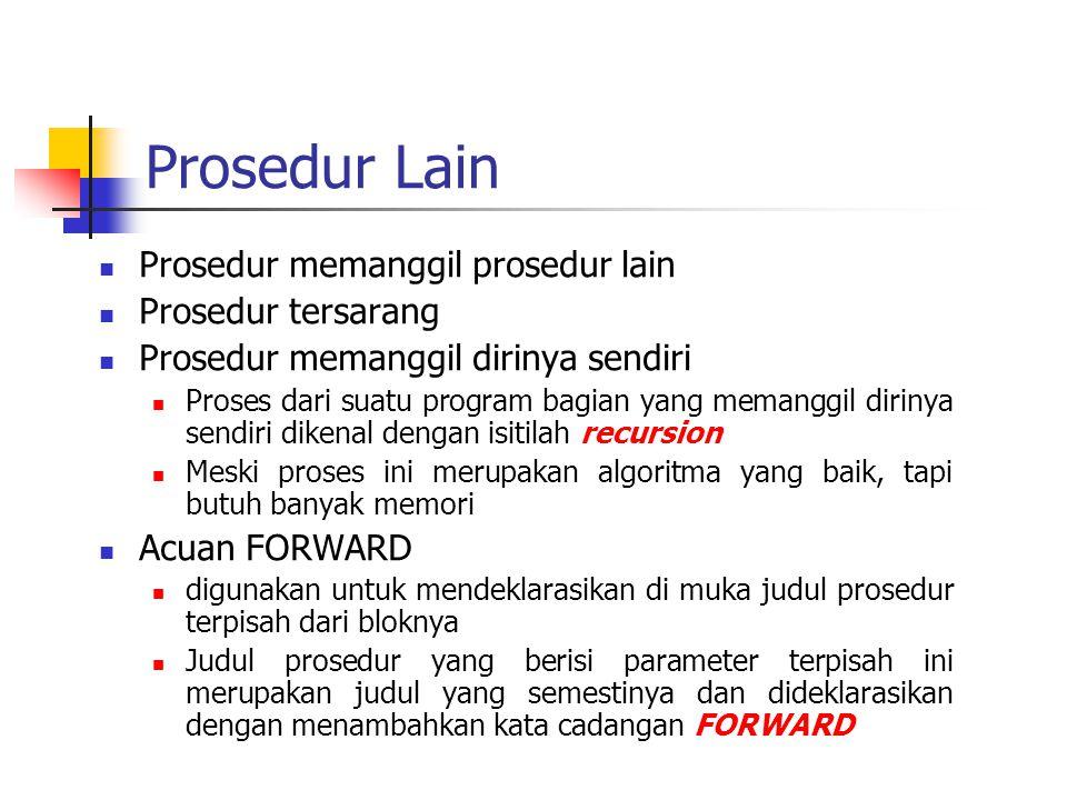 Prosedur Lain Prosedur memanggil prosedur lain Prosedur tersarang Prosedur memanggil dirinya sendiri Proses dari suatu program bagian yang memanggil d