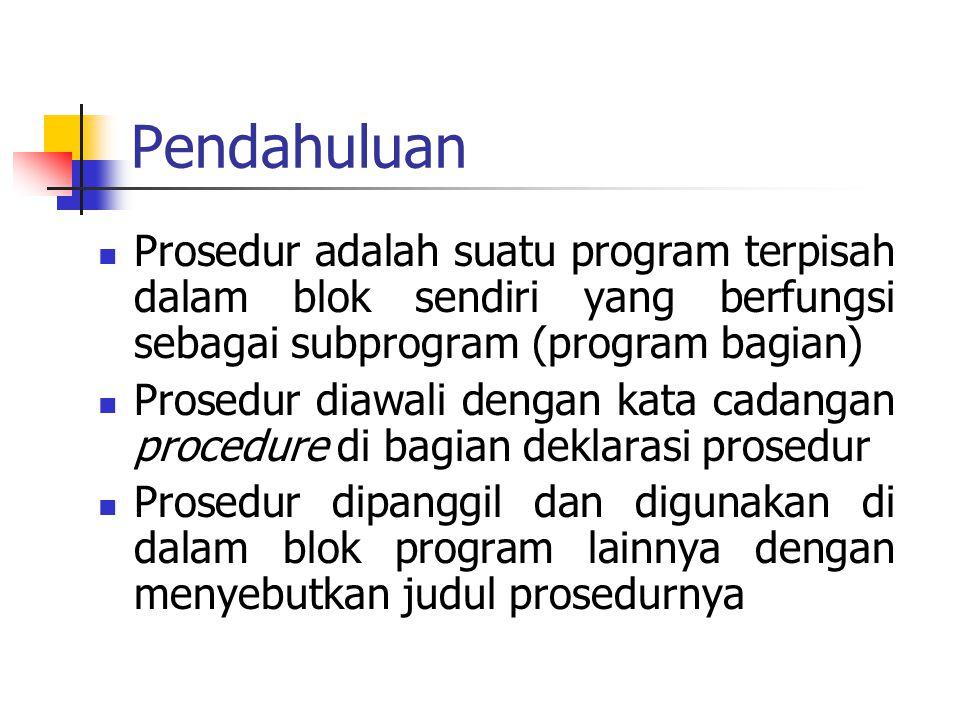 Pendahuluan Prosedur adalah suatu program terpisah dalam blok sendiri yang berfungsi sebagai subprogram (program bagian) Prosedur diawali dengan kata