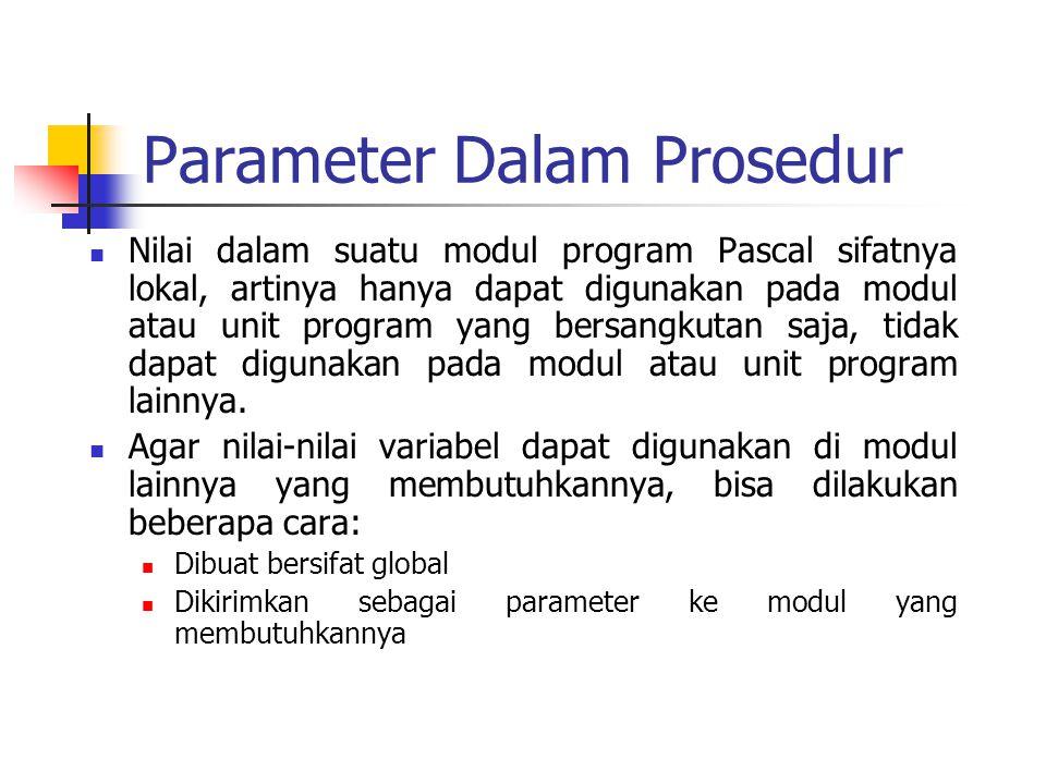 Parameter Dalam Prosedur Nilai dalam suatu modul program Pascal sifatnya lokal, artinya hanya dapat digunakan pada modul atau unit program yang bersan