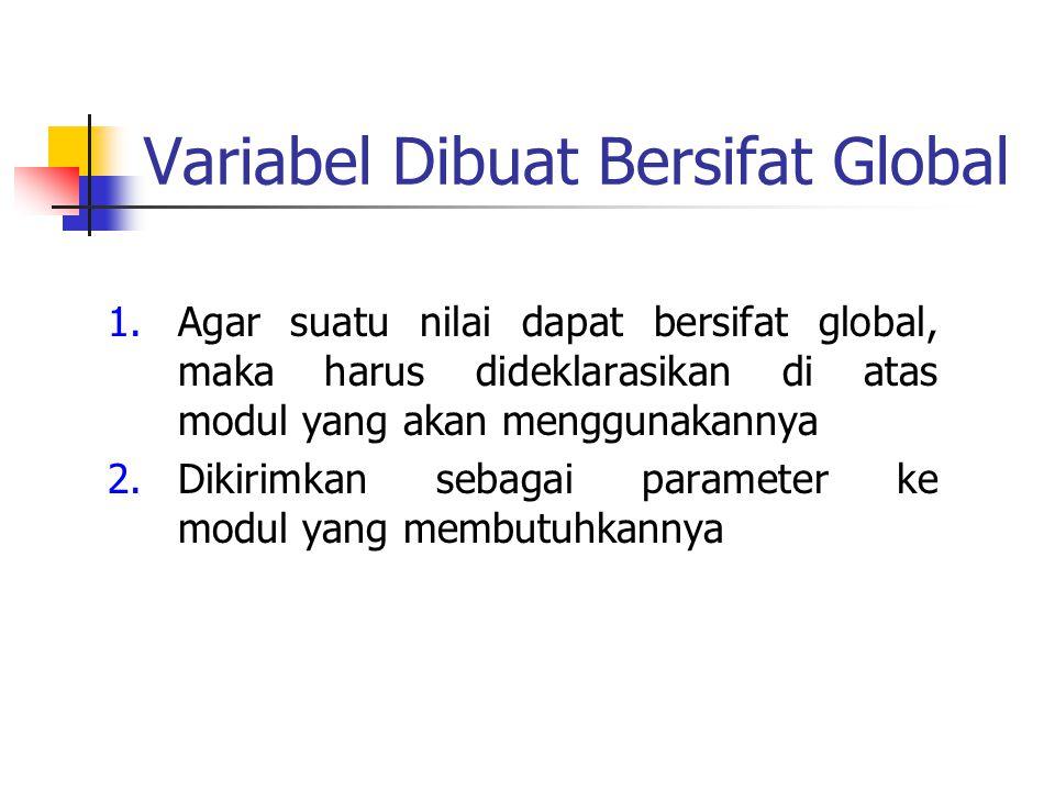 Variabel Dibuat Bersifat Global 1.Agar suatu nilai dapat bersifat global, maka harus dideklarasikan di atas modul yang akan menggunakannya 2.Dikirimka