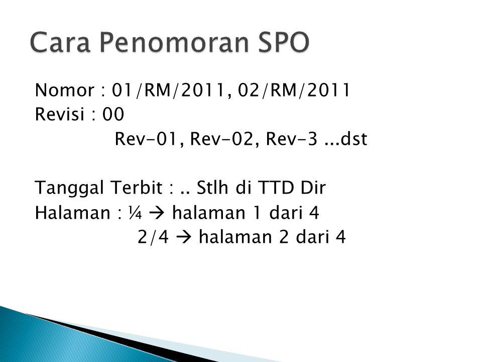 Nomor : 01/RM/2011, 02/RM/2011 Revisi : 00 Rev-01, Rev-02, Rev-3...dst Tanggal Terbit :.. Stlh di TTD Dir Halaman : ¼  halaman 1 dari 4 2/4  halaman