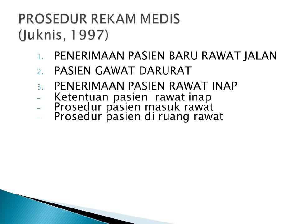 1. PENERIMAAN PASIEN BARU RAWAT JALAN 2. PASIEN GAWAT DARURAT 3. PENERIMAAN PASIEN RAWAT INAP - Ketentuan pasien rawat inap - Prosedur pasien masuk ra
