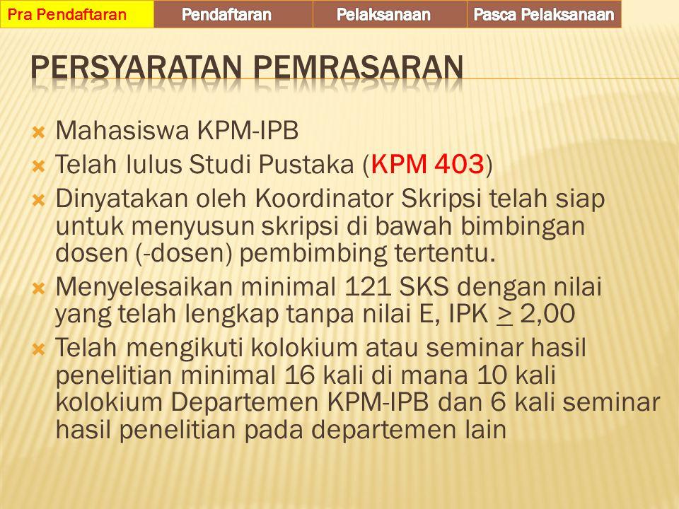  Pembahas mahasiswa :  Mahasiswa KPM-IPB yang telah melaksanakan kolokium  Dapat berasal dari angkatan sebelumnya yang memenuhi kriteria  Pembahas harus mengisi berkas pembahas (Form – K3), dan berkas ini diserahkan ke Sekretariat KPM-IPB dan dikirim ke email kolokium.kpm.ipb@gmail.com ke bersama-sama dengan penyerahan makalah kolokium.Form – K3 kolokium.kpm.ipb@gmail.com Pra Pendaftaran
