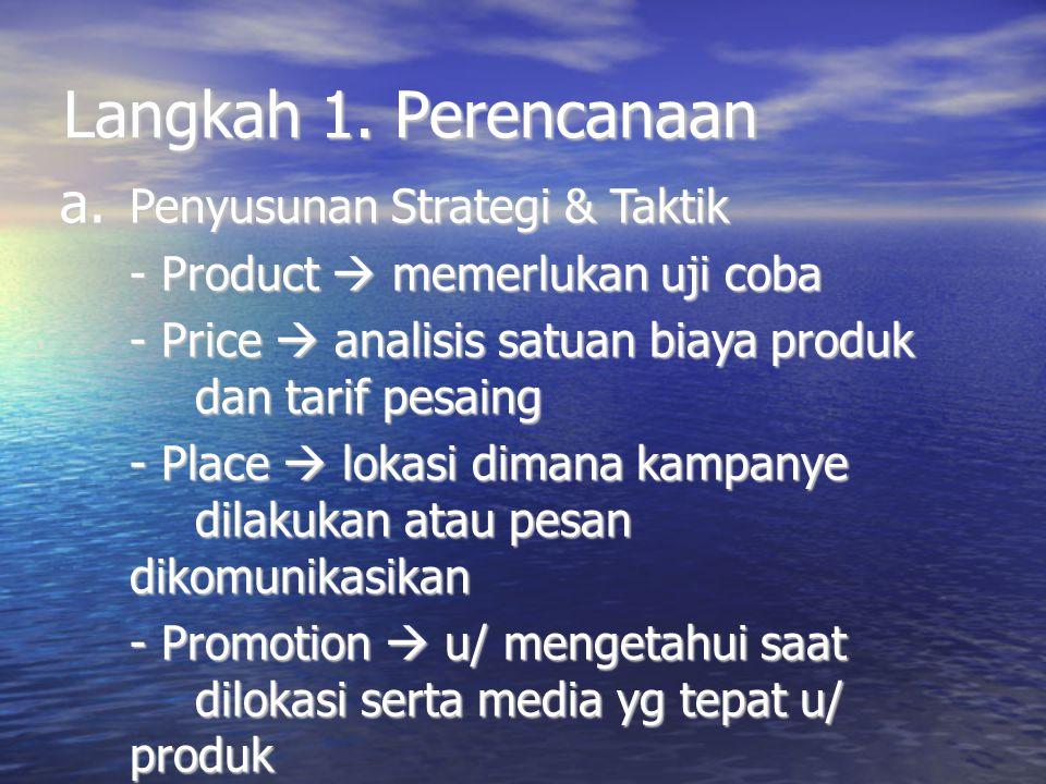 Langkah 1. Perencanaan a. Penyusunan Strategi & Taktik - Product  memerlukan uji coba - Price  analisis satuan biaya produk dan tarif pesaing - Plac