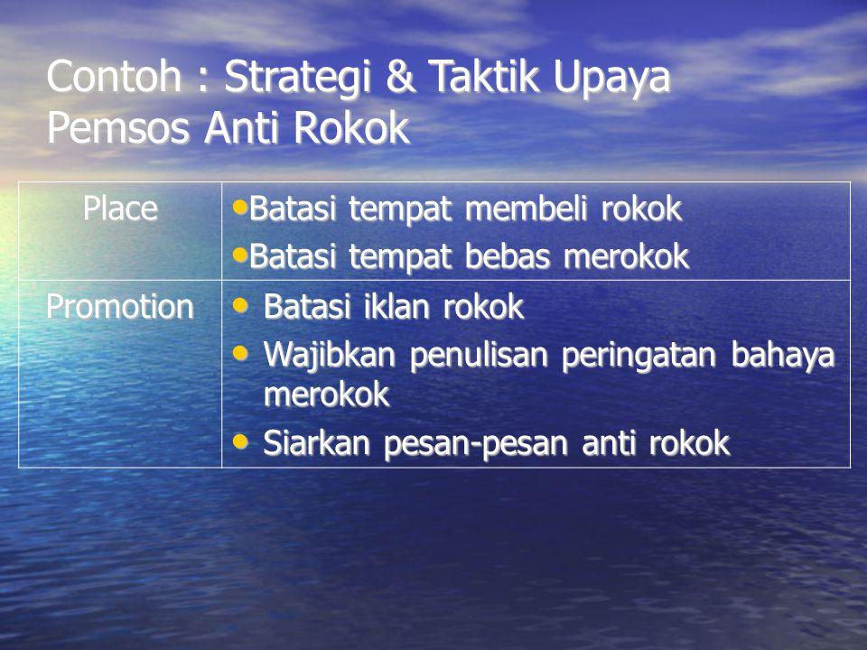 Contoh : Strategi & Taktik Upaya Pemsos Anti Rokok Place Batasi tempat membeli rokok Batasi tempat membeli rokok Batasi tempat bebas merokok Batasi te