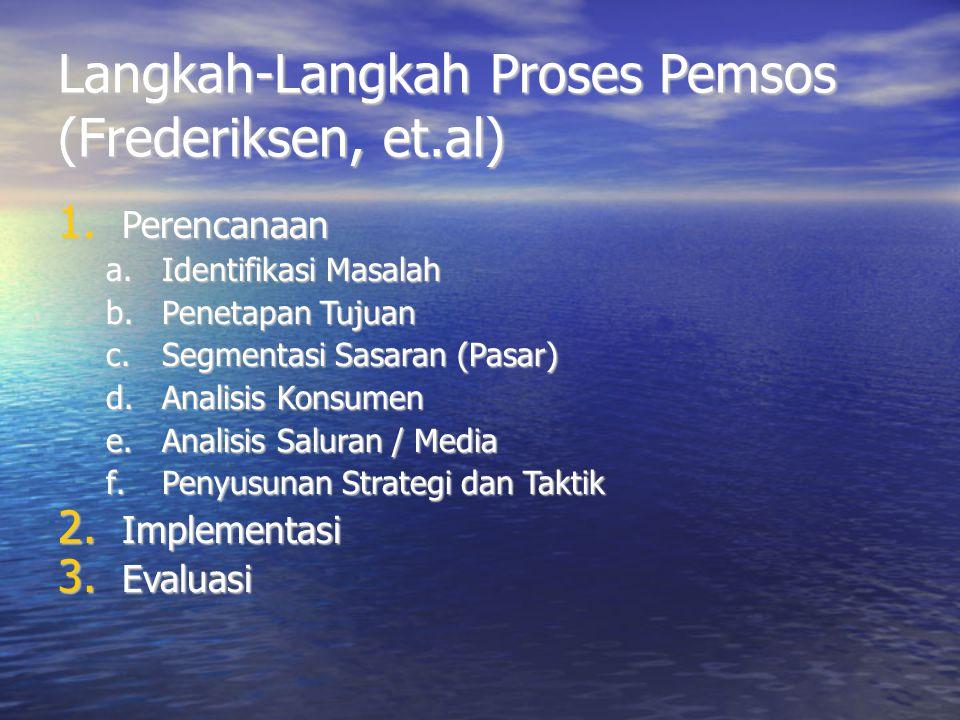 Langkah-Langkah Proses Pemsos (Frederiksen, et.al) 1. Perencanaan a.Identifikasi Masalah b.Penetapan Tujuan c.Segmentasi Sasaran (Pasar) d.Analisis Ko