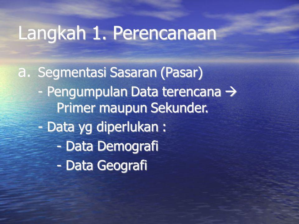Langkah 1. Perencanaan a. Segmentasi Sasaran (Pasar) - Pengumpulan Data terencana  Primer maupun Sekunder. - Data yg diperlukan : - Data Demografi -