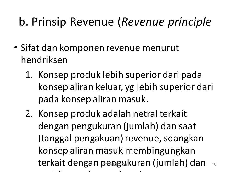 b. Prinsip Revenue (Revenue principle Sifat dan komponen revenue menurut hendriksen 1.Konsep produk lebih superior dari pada konsep aliran keluar, yg