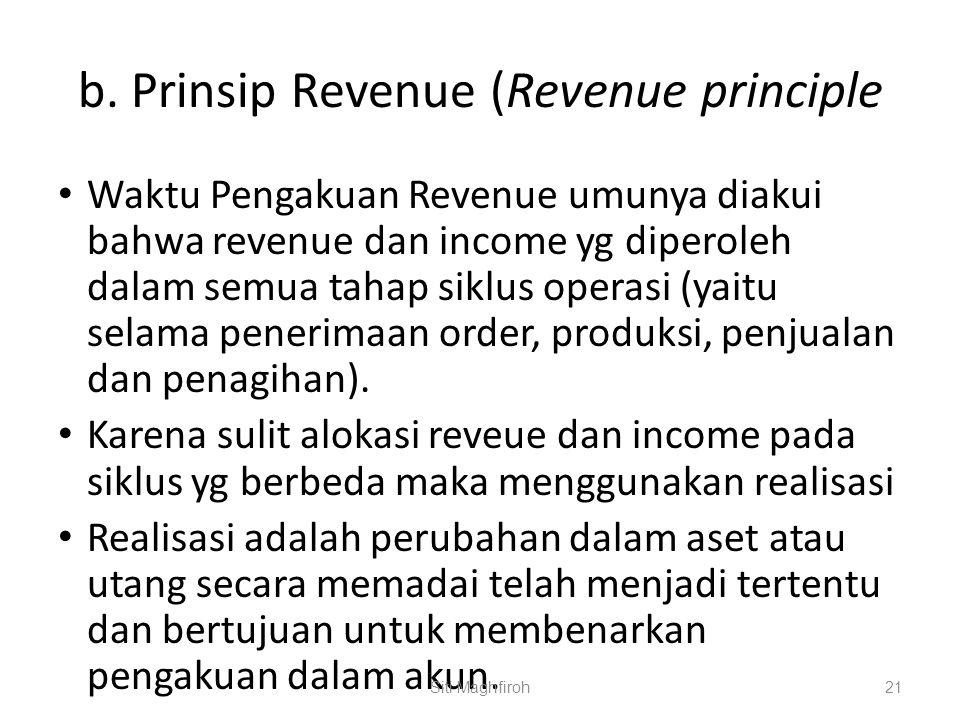 b. Prinsip Revenue (Revenue principle Waktu Pengakuan Revenue umunya diakui bahwa revenue dan income yg diperoleh dalam semua tahap siklus operasi (ya