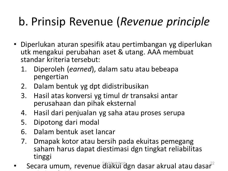 b. Prinsip Revenue (Revenue principle Diperlukan aturan spesifik atau pertimbangan yg diperlukan utk mengakui perubahan aset & utang. AAA membuat stan