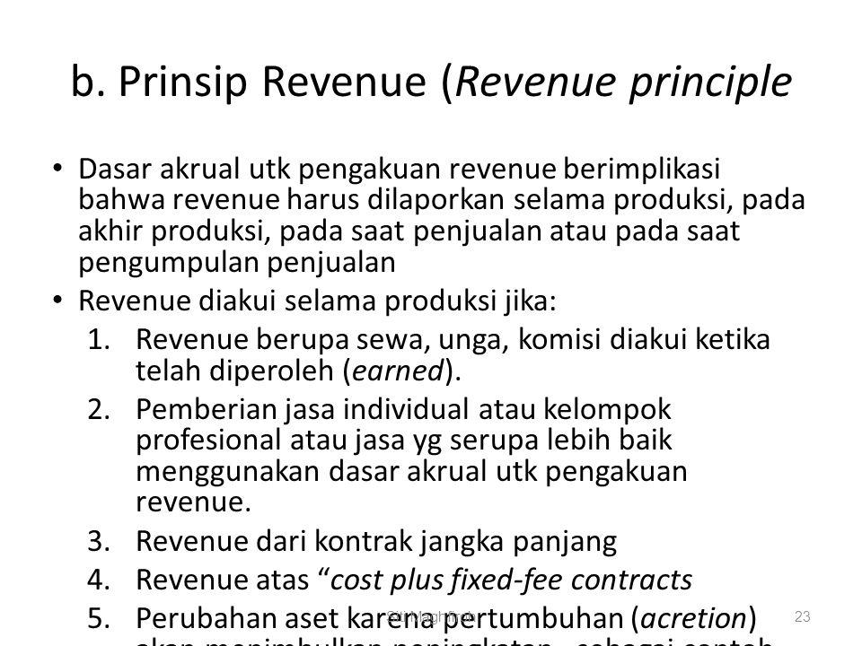 b. Prinsip Revenue (Revenue principle Dasar akrual utk pengakuan revenue berimplikasi bahwa revenue harus dilaporkan selama produksi, pada akhir produ