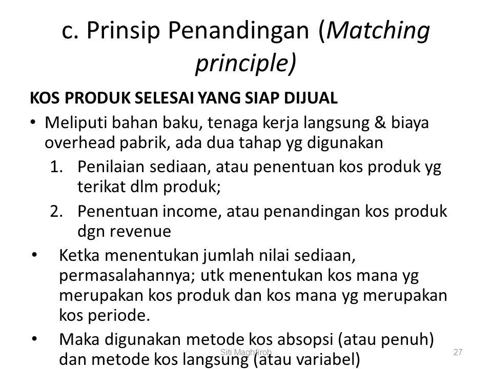 c. Prinsip Penandingan (Matching principle) KOS PRODUK SELESAI YANG SIAP DIJUAL Meliputi bahan baku, tenaga kerja langsung & biaya overhead pabrik, ad