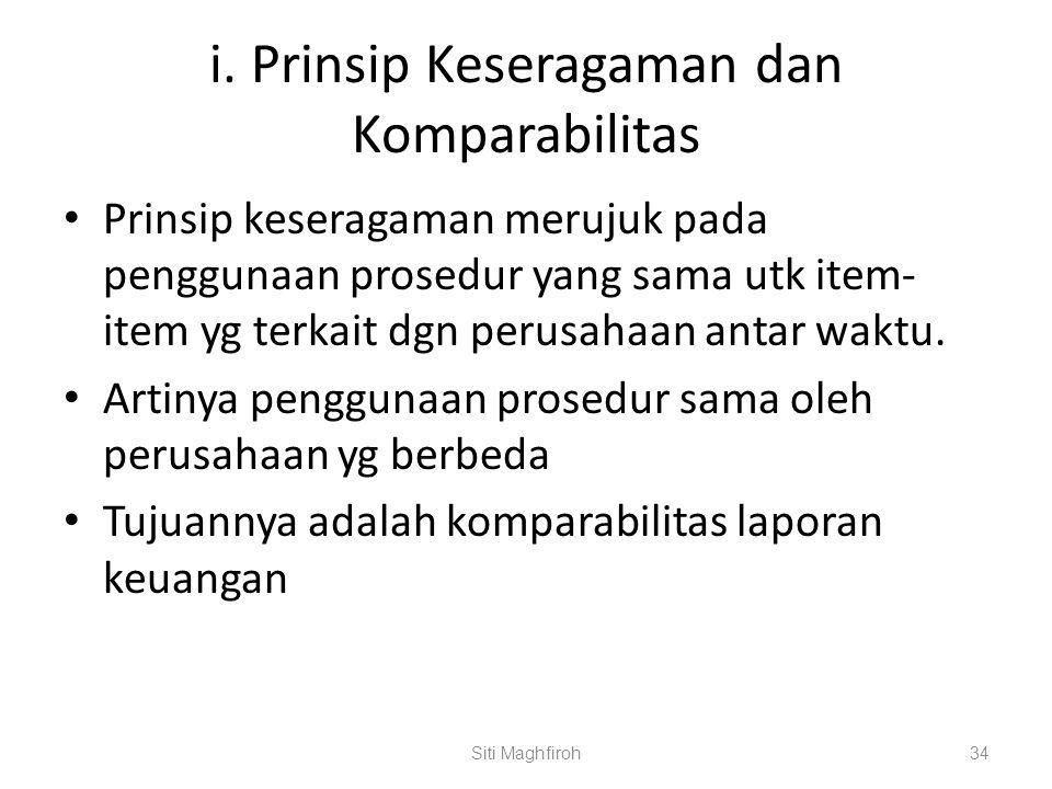 i. Prinsip Keseragaman dan Komparabilitas Prinsip keseragaman merujuk pada penggunaan prosedur yang sama utk item- item yg terkait dgn perusahaan anta