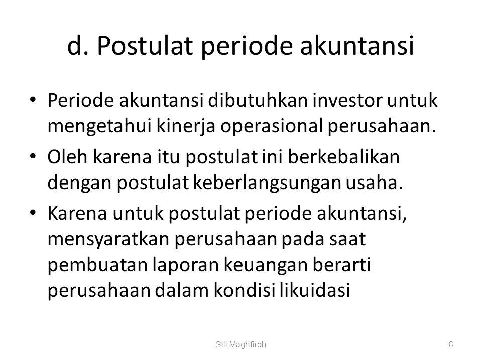 d. Postulat periode akuntansi Periode akuntansi dibutuhkan investor untuk mengetahui kinerja operasional perusahaan. Oleh karena itu postulat ini berk