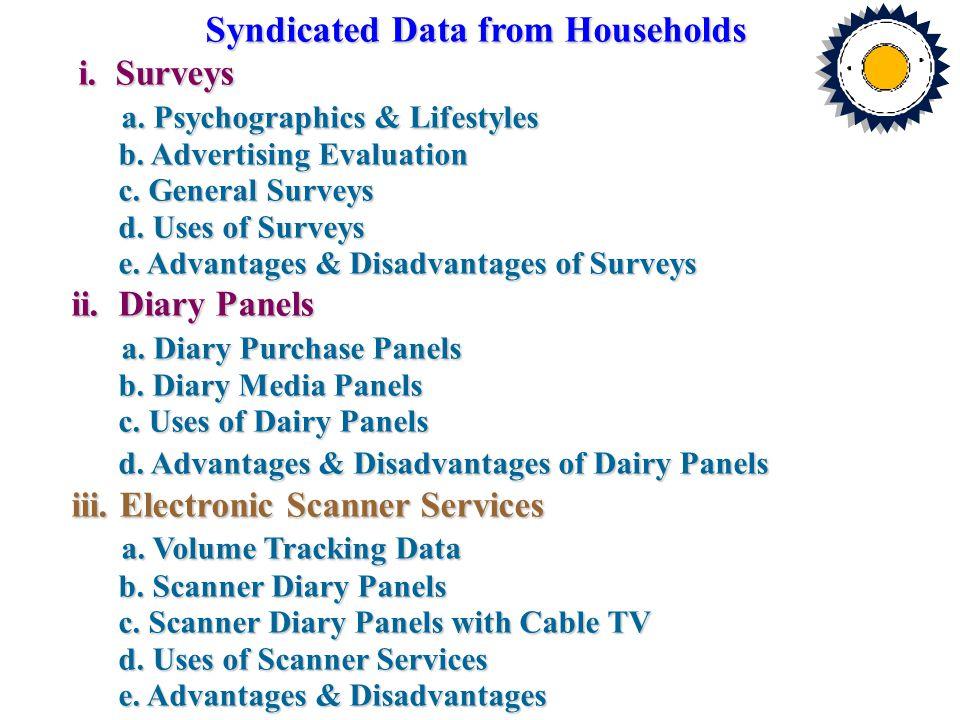 Syndicated Data from Households i. Surveys i. Surveys a. Psychographics & Lifestyles a. Psychographics & Lifestyles b. Advertising Evaluation b. Adver