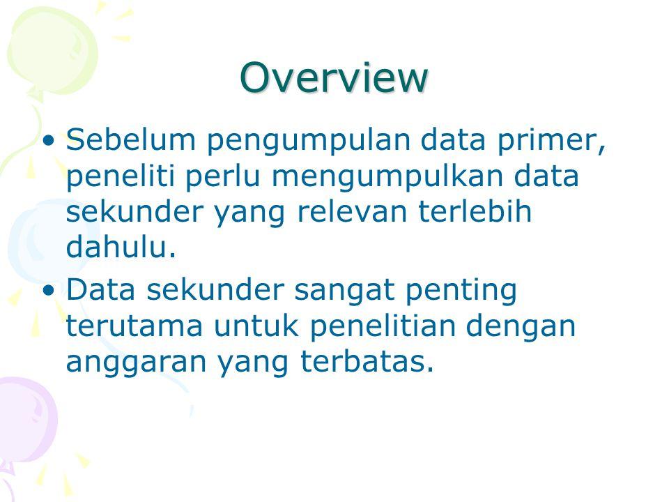 Overview Sebelum pengumpulan data primer, peneliti perlu mengumpulkan data sekunder yang relevan terlebih dahulu. Data sekunder sangat penting terutam