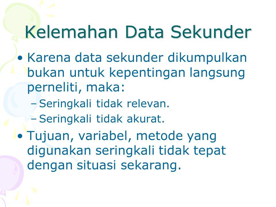 Kelemahan Data Sekunder Karena data sekunder dikumpulkan bukan untuk kepentingan langsung perneliti, maka: –Seringkali tidak relevan. –Seringkali tida