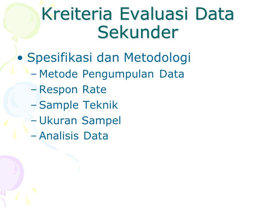 Kreiteria Evaluasi Data Sekunder Spesifikasi dan Metodologi –Metode Pengumpulan Data –Respon Rate –Sample Teknik –Ukuran Sampel –Analisis Data