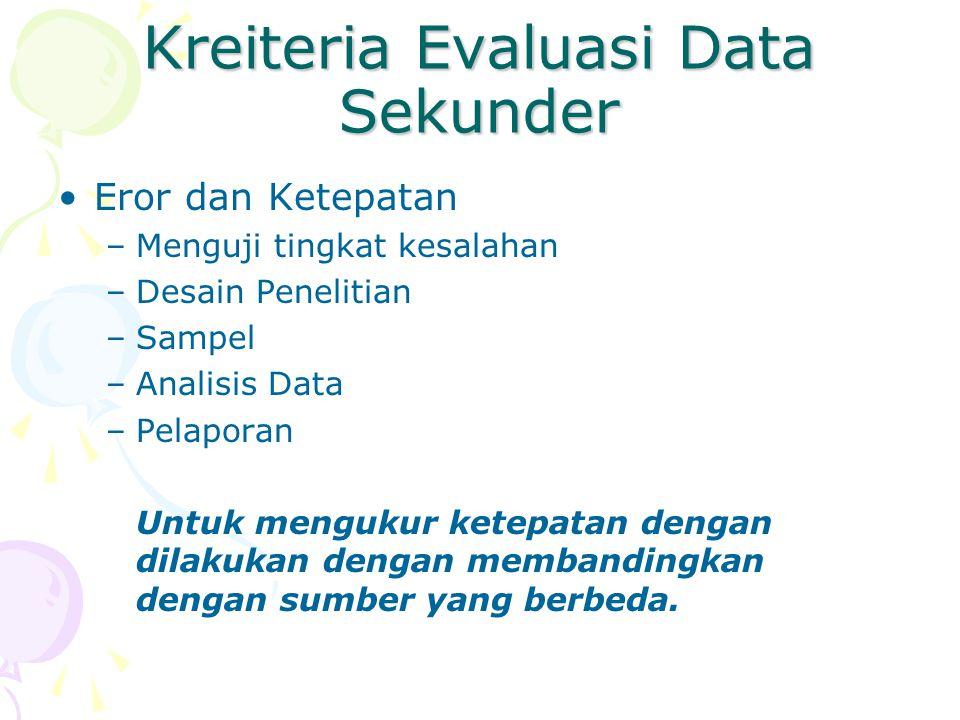 Kreiteria Evaluasi Data Sekunder Eror dan Ketepatan –Menguji tingkat kesalahan –Desain Penelitian –Sampel –Analisis Data –Pelaporan Untuk mengukur ket