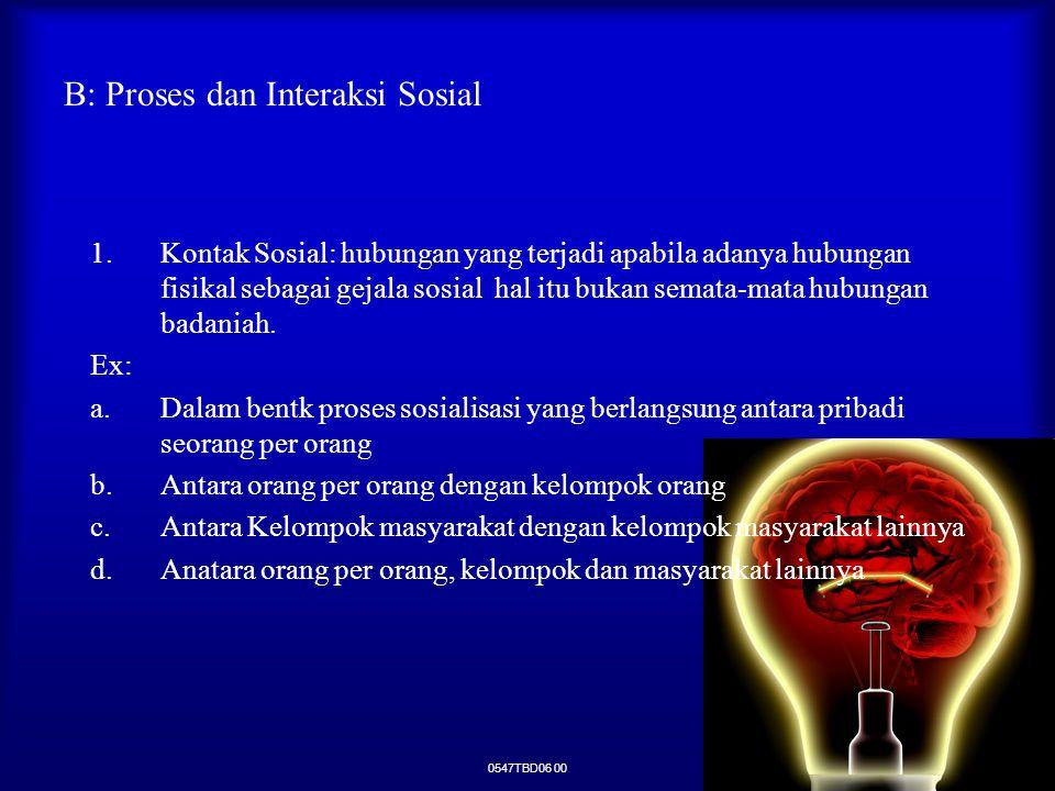 0547TBD06 00 B: Proses dan Interaksi Sosial 1.Kontak Sosial: hubungan yang terjadi apabila adanya hubungan fisikal sebagai gejala sosial hal itu bukan