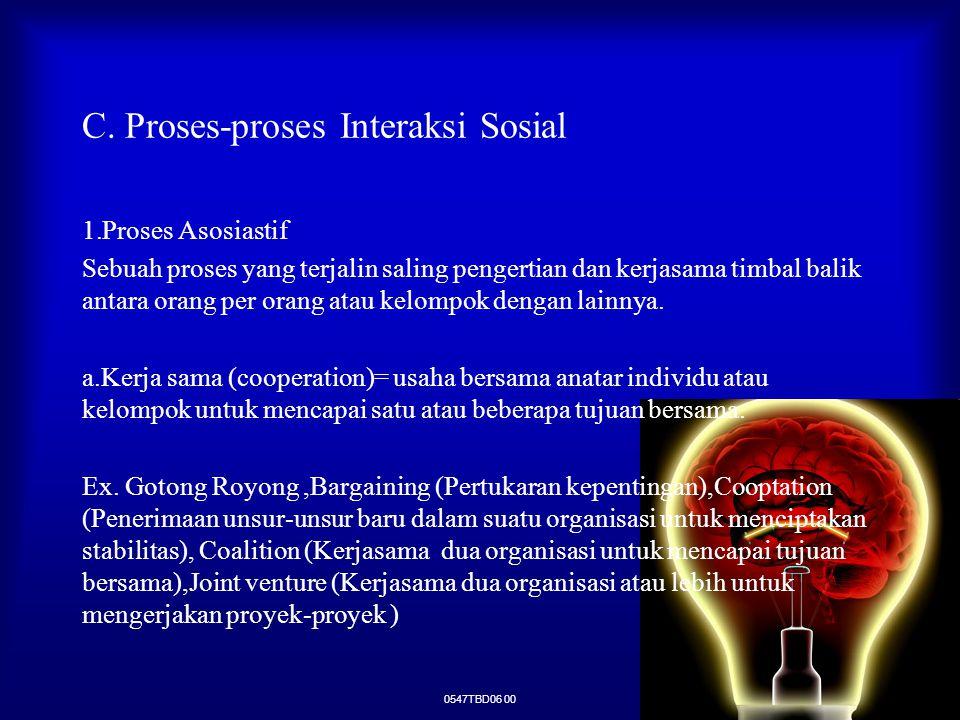 0547TBD06 00 C. Proses-proses Interaksi Sosial 1.Proses Asosiastif Sebuah proses yang terjalin saling pengertian dan kerjasama timbal balik antara ora