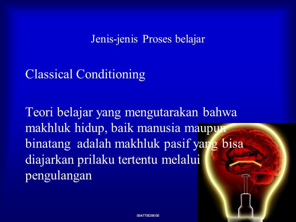 0547TBD06 00 Jenis-jenis Proses belajar Classical Conditioning Teori belajar yang mengutarakan bahwa makhluk hidup, baik manusia maupun binatang adala