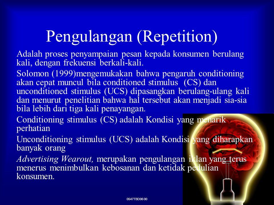 0547TBD06 00 Pengulangan (Repetition) Adalah proses penyampaian pesan kepada konsumen berulang kali, dengan frekuensi berkali-kali. Solomon (1999)meng