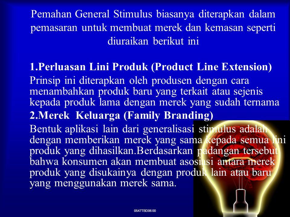 0547TBD06 00 Pemahan General Stimulus biasanya diterapkan dalam pemasaran untuk membuat merek dan kemasan seperti diuraikan berikut ini 1.Perluasan Li