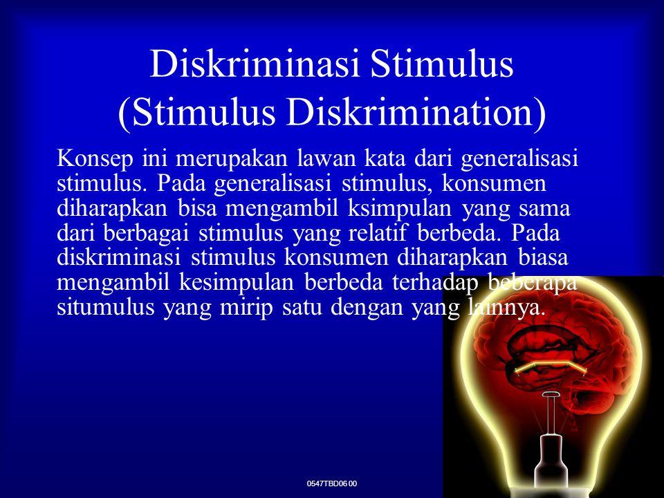 Diskriminasi Stimulus (Stimulus Diskrimination) Konsep ini merupakan lawan kata dari generalisasi stimulus. Pada generalisasi stimulus, konsumen dihar