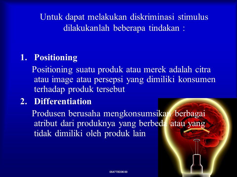 0547TBD06 00 Untuk dapat melakukan diskriminasi stimulus dilakukanlah beberapa tindakan : 1.Positioning Positioning suatu produk atau merek adalah cit