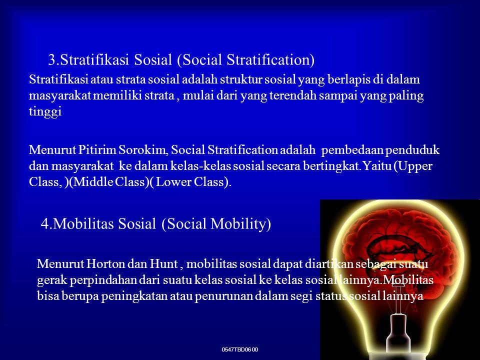 0547TBD06 00 3.Stratifikasi Sosial (Social Stratification) Stratifikasi atau strata sosial adalah struktur sosial yang berlapis di dalam masyarakat me