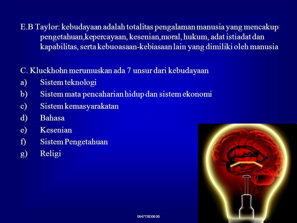 0547TBD06 00 E.B Taylor: kebudayaan adalah totalitas pengalaman manusia yang mencakup pengetahuan,kepercayaan, kesenian,moral, hukum, adat istiadat da
