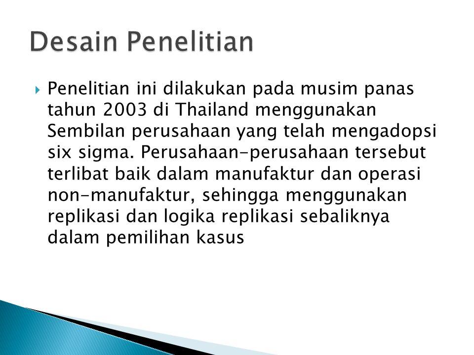  Penelitian ini dilakukan pada musim panas tahun 2003 di Thailand menggunakan Sembilan perusahaan yang telah mengadopsi six sigma. Perusahaan-perusah