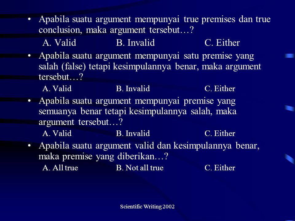 Scientific Writing 2002 Apabila suatu argument mempunyai true premises dan true conclusion, maka argument tersebut….