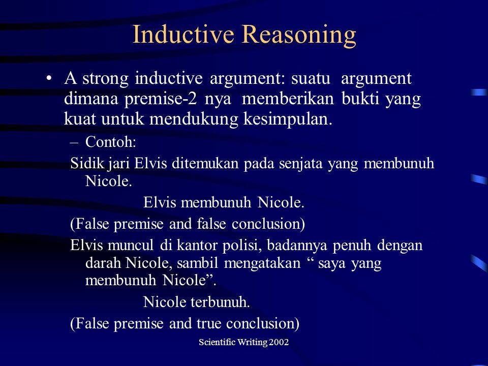 Scientific Writing 2002 Inductive Reasoning A strong inductive argument: suatu argument dimana premise-2 nya memberikan bukti yang kuat untuk mendukung kesimpulan.