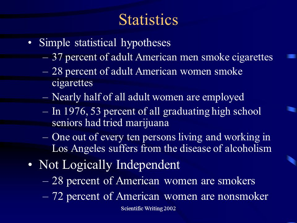 Scientific Writing 2002 Statistics Simple statistical hypotheses –37 percent of adult American men smoke cigarettes –28 percent of adult American wome
