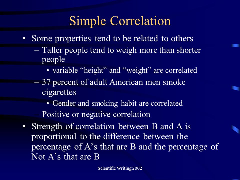 Scientific Writing 2002 Simple Correlation Some properties tend to be related to others –Taller people tend to weigh more than shorter people variable