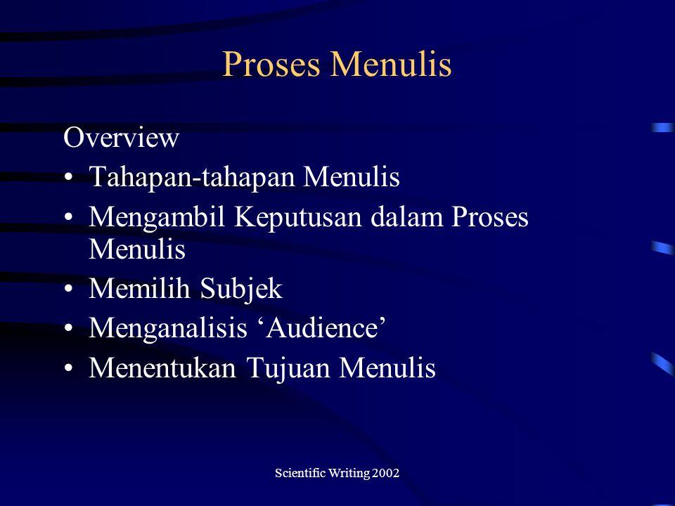 Scientific Writing 2002 Proses Menulis Overview Tahapan-tahapan Menulis Mengambil Keputusan dalam Proses Menulis Memilih Subjek Menganalisis 'Audience' Menentukan Tujuan Menulis